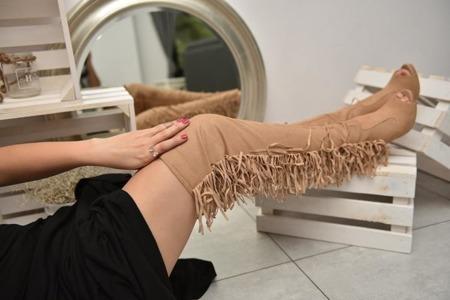 Muszkieterki za kolano frędzle