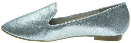 Sylwestrowe balerinki srebrne brokatowe