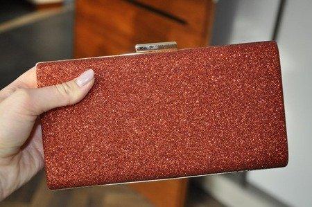 Torebka kopertówka czerwona brokatowa